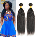 7A Unprocessed Brazilian Yaki Human Hair  3 Bundles Kinky Straight Hair Wave 100% Brazilian Cheap Vigin Human Hair Bundle Deals