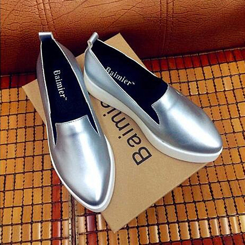 2017 Spring Women Flats PU Leather Shoes Woman Pointed Toe Slip On Platform Loafers Woman Creepers Casual Shoes Size 35~40 phyanic crystal shoes woman 2017 bling gladiator sandals casual creepers slip on flats beach platform women shoes phy4041