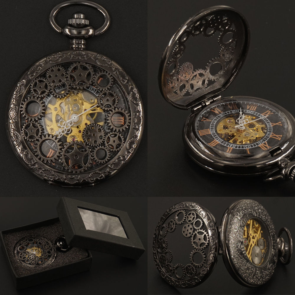 Mens Black Gear Hollow Gear Pocket Watches Mekanike FOB Zinxhir dhuratë Box Hand Steampunk 2017 Transporti Falas