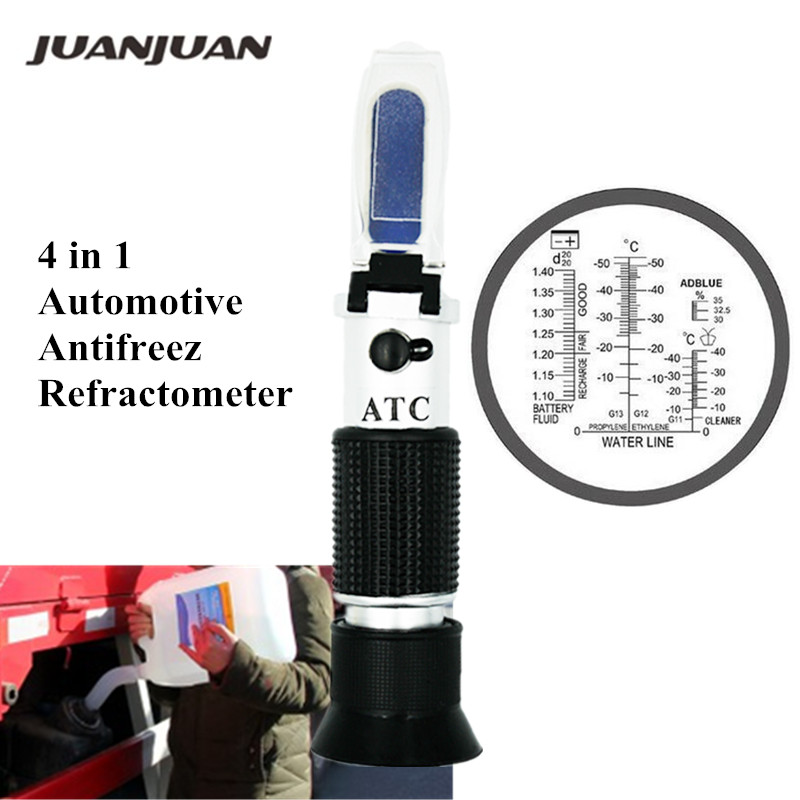4 In 1 Engine Fluid Glycol Freezing Point Urea Adblue Car Battery Refractometer Automotive Antifreeze Refractometer 34% Off
