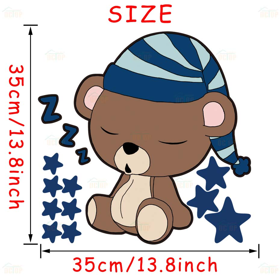 Cute Sleeping Bear with Stars Wall Decals Children's Kids Cartoon DIY Art Vinyls Stickers Bedroom Home Decor Mural Wallpaper (6)