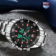 TVG Luxury Brand Mens 2019 New Fashion Stainless Steel Waterproof Digital LED Watch Business Men Sport Diving