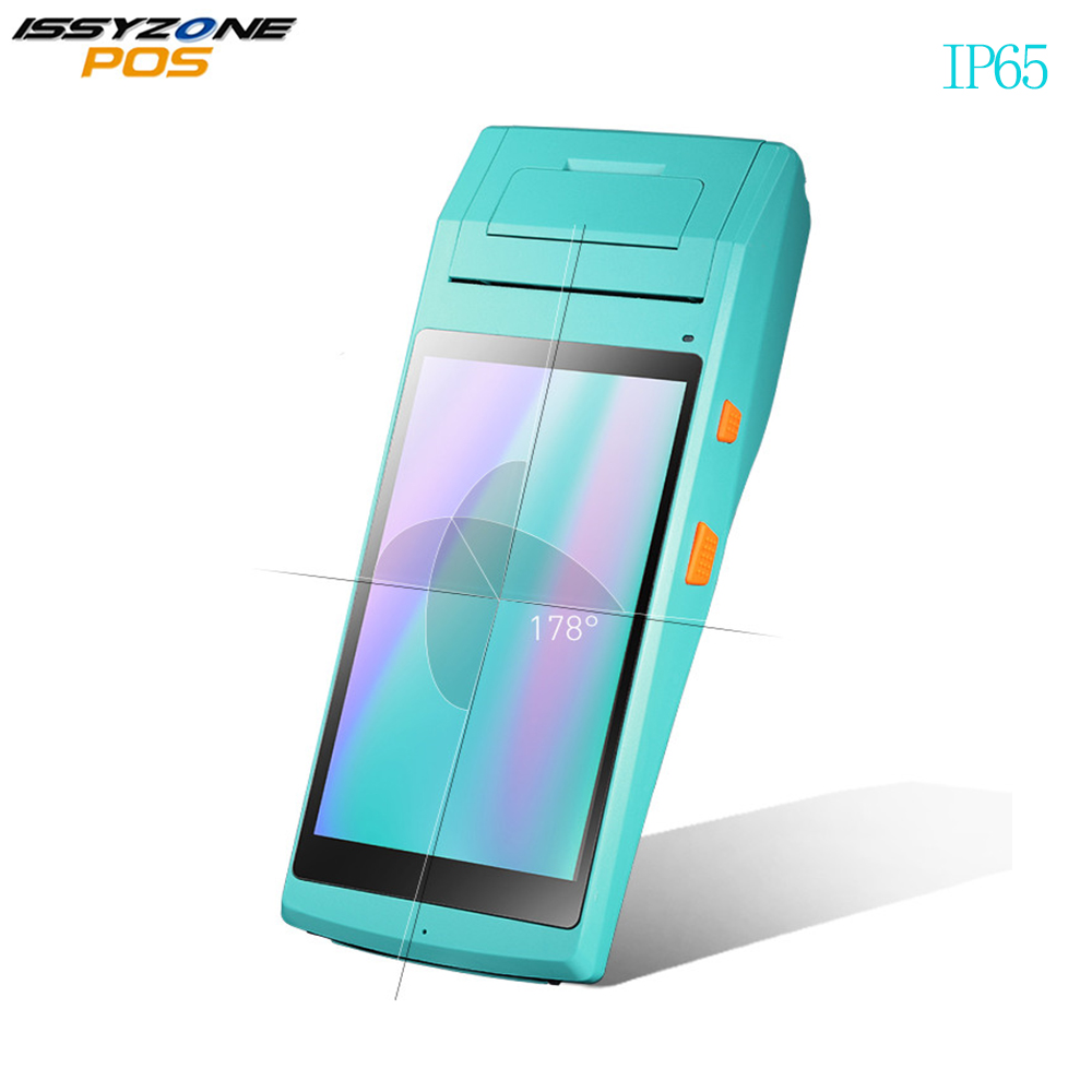 ISSYZONEPOS Android Mobile POS Terminal 3g 4g De Poche PDA Bluetooth WIFI 1D 2D Barcode Scanner avec 58mm thermique Imprimante IP65
