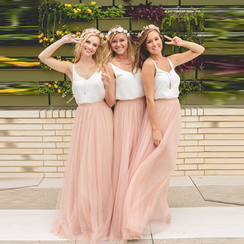 Long Baby Pink Bridesmaid Dresses Tulle Skirt Top Chiffon