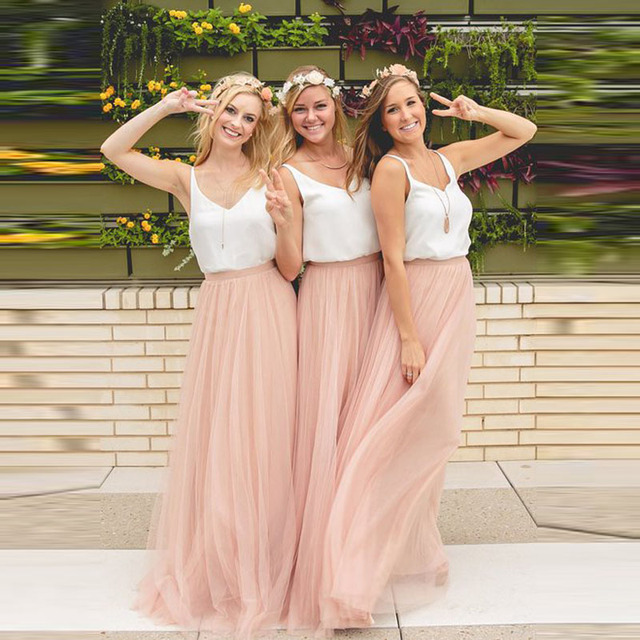 Long baby pink bridesmaid dresses tulle skirt top chiffon for Tulle skirt under wedding dress