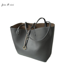 large big totes bag grey shopping bag leather shoulder handbag women brand fashion high quality 100% nice leather