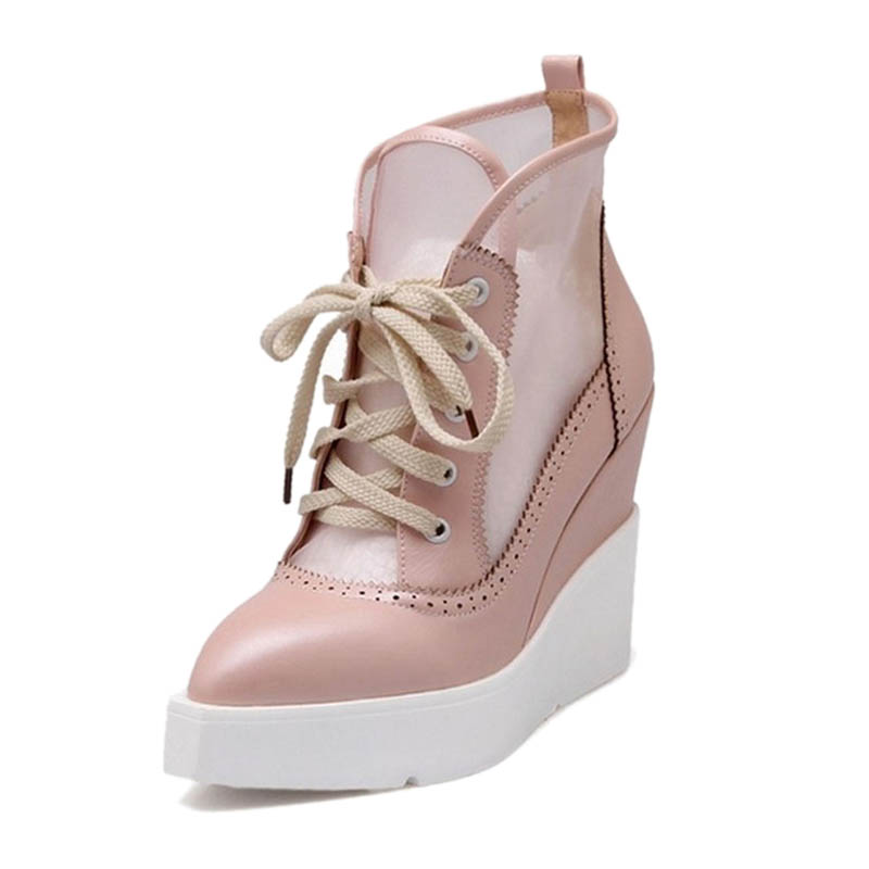 ФОТО Women Ankle Boots Fashion Pointed Toe Lace Up Platform Wedges Boots For Women Ladies Casual Breathable High Heels Autumn Boots