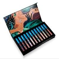 Um Conjunto de Kit 12 PCS Batom Roxo Batom Lip Gloss Gloss Batom Um Conjunto de Batom Líquido À Prova D' Água 2017 Novo maquiagem