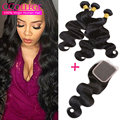 Unice Peruvian Body Wave 3 Bundles With Closure Virgin Peruvian Hair Bundles Body Wave Grace Hair Products With Closure 7A Grade