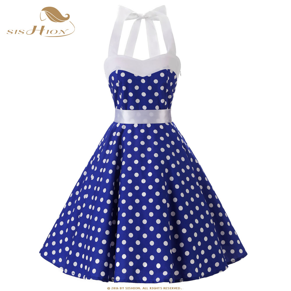 SISHION Blue Dress White Polka Dot Women Summer Dress Plus Size Hepburn Halter Big Swing Retro Vintage Tunic Cotton Dress VD0526