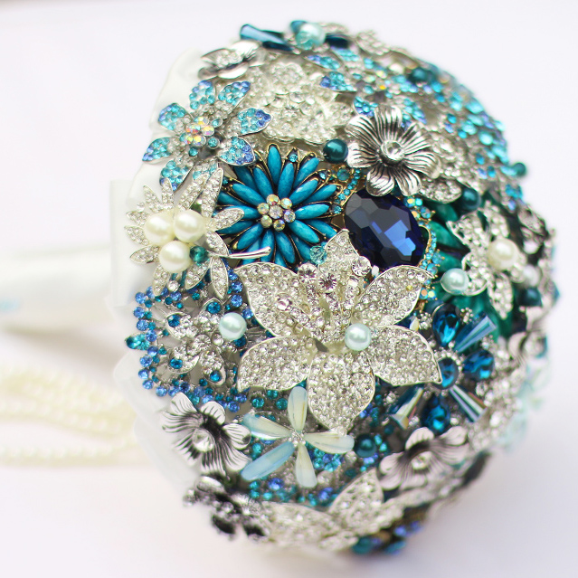 Diy Wedding Flower Bouquet: Custom Wedding Brooch Bridal Bouquets Blue Crystal Bride's