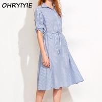 OHRYIYIE נשים שמלת פסי קיץ חולצה 2018 אופנה חדשה הסטודנטיאלי המראה טוניקת חולצות ארוכות נקבה Vestidos שמלות פס כחול