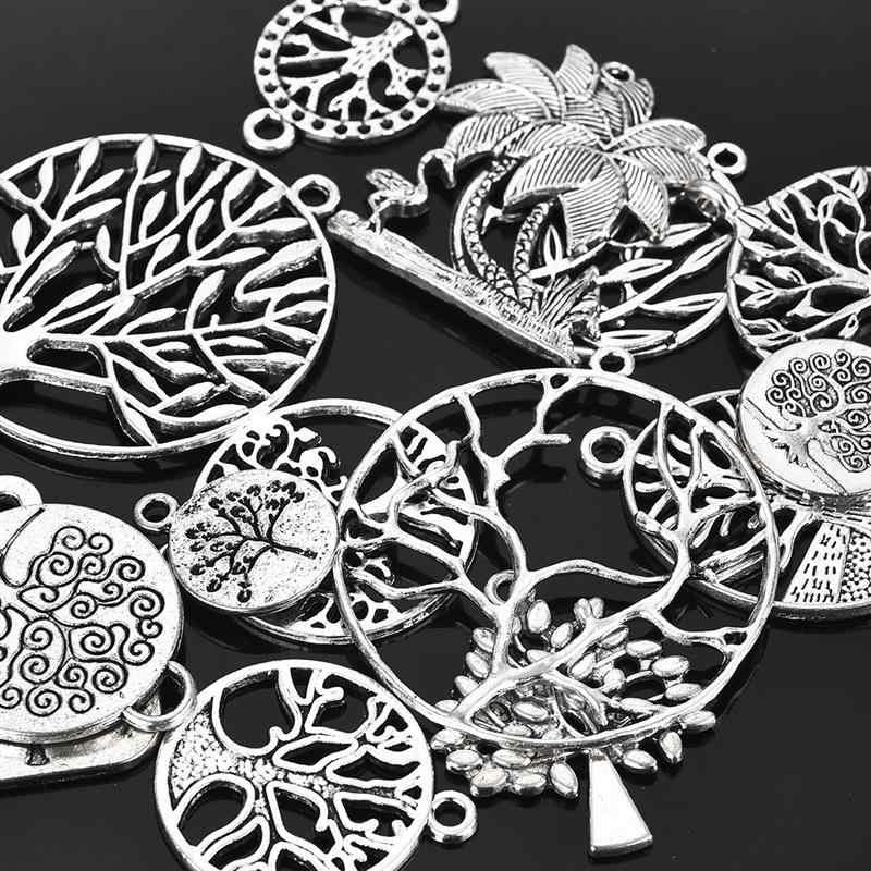 15 قطعة شجرة الحياة الفضة Charms المعلقات مختلطة ل سوار قلادة خواتم Findings بها بنفسك مكون صنع المجوهرات النتائج