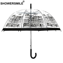 SHOWERSMILE Rain Umbrella Transparent Female Male Building Apollo See Through Mushroom Creative Novelty Brand Brolly