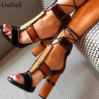 Ethnic Retro Lady Jeans Sandals Patchwork Chunky Heels High Heels Sandals Open Toe Ankle Wrap Tie Up Woman Sandals Pumps Shoes