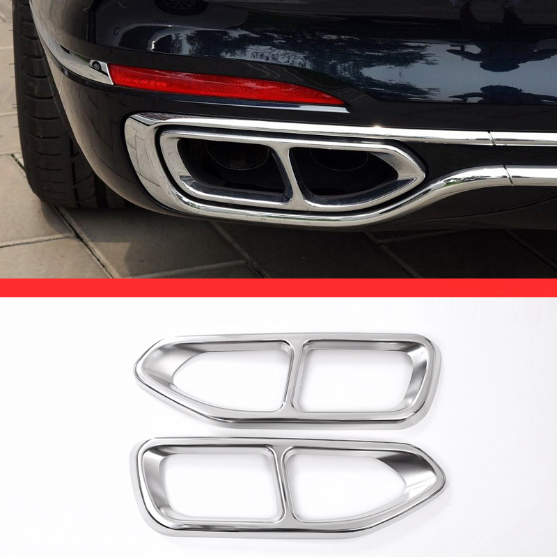 For BMW 7 Series G11 G12 730 740 750li 2016 2017 Car-Styling 304 Stainless Steel Exhaust Tailpipe Cover Trims Accessories 2pcs