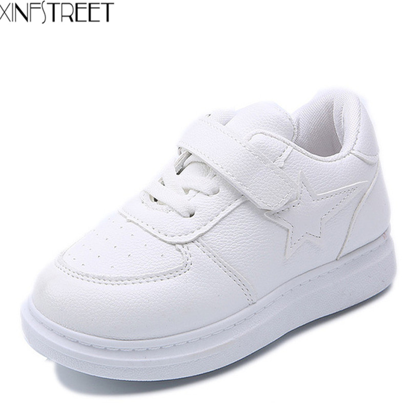 Fashion Kids Shoes For Girls Boys PU Breathable Children Casual Shoes White Black School Sneakers Size 26-36