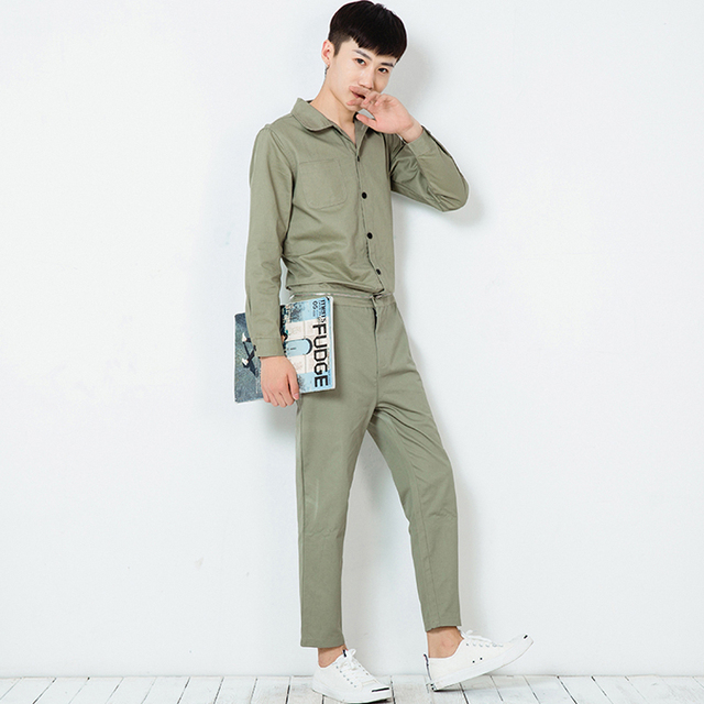 Male cool overalls slim fit casual harem pants hip-hop trousers  fashion jumpsuit mens jumpsuit long sleeve a piece pant K165