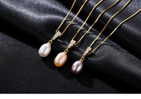 New Freshwater Pearl Pendant S925 Sterling Silver Fashion Women's Necklace Gift BLS03