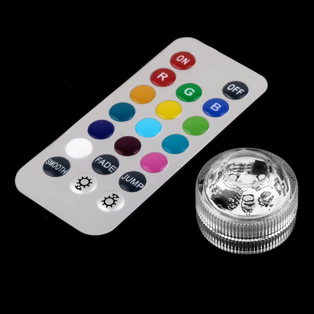 1pc Twist RGB Led Sinking Light Submersible Floralytes Remote Control Waterproof Candle Night Lights Wedding Xmas Party Lamps