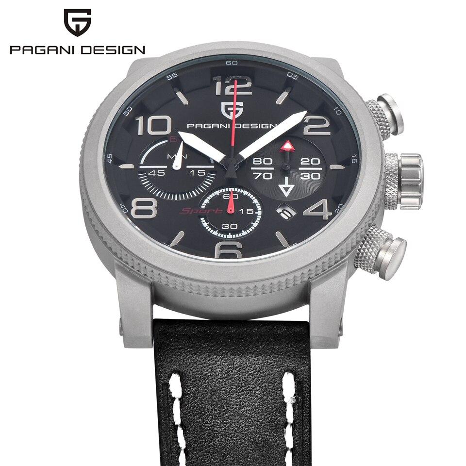 Pagani design men 럭셔리 브랜드 분 초 크로노 그래프 스포츠 시계 방수 스톱워치 날짜 가죽 쿼트 손목 시계 시계-에서수정 시계부터 시계 의  그룹 2
