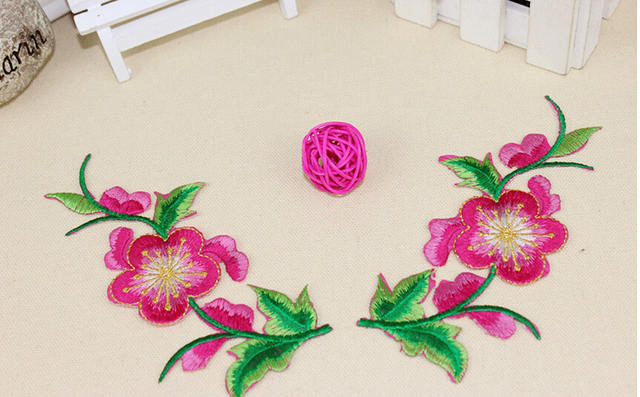 Pcs flower embroidery patch purple embroidered
