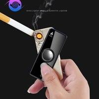 USB charging lighters No gas cigar lighter Finger toy Gyro flash Electronic Cigarette Hand Fidget Spinner Windproof lighter