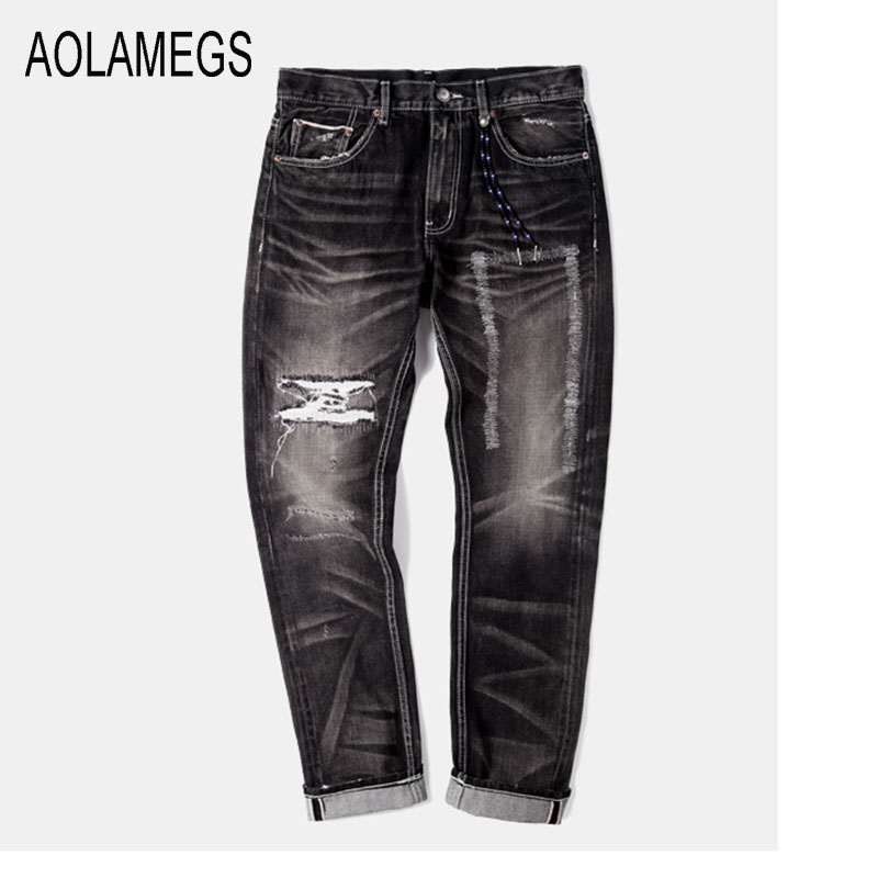 Aolamegs Jeans Men Fashion Design Destroyed Hole Jeans Straight Wash Denim Trousers 2016 Top Quality Slim Fit Denim Streetwear european american style hole zipper men jeans luxury men s denim trousers straight nostalgic blue leisure street jeans slim pant