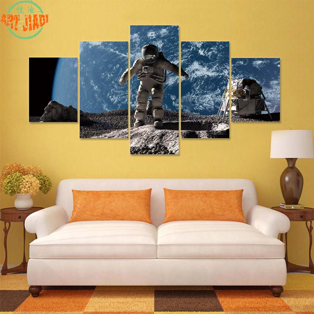 Astronaut On Asteroid Looking At Alien 4 5 Pieces Canvas Art Canvas ...