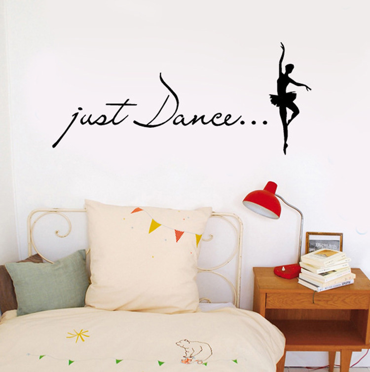 Just Dance Wall Stickers Home Decor - Ballet Dancer Wall Decal Dance Studio Wall Art Decoration - Girls Bedroom, Dorm Wallpaper