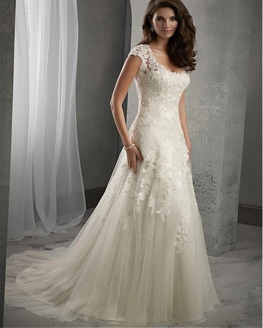 Elegant Lace Scoop Neck Wedding Dresses A Line Cap Sleeve Tulle Sweep Train Weeding Bridal