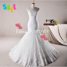 MORI-Hot Free Shipping Real Sample Exquisite 2013 New Sexy Mermaid Strapless AppliquesTulle Train White Wedding Dress GownsBride