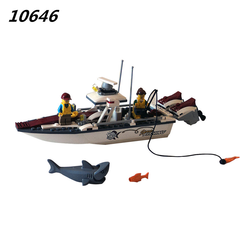 10646 160Pcs City Figures Fishing Boat Model Building Kits Blocks DIY Bricks Toys For Children Gift Compatible 60147 335pcs 0370 sluban figures aviation city aircraft medical air ambulance model building kits blocks bricks toys for children gift