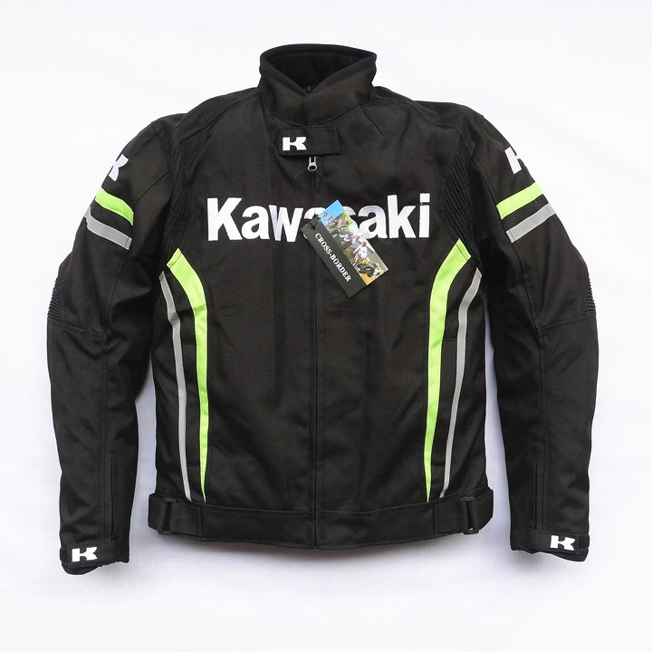 New arrival men jacket KAWASAKI winter automobile race clothing motorcycle jacket thermal removable liner flanchard replex kneepad flanchard cuish