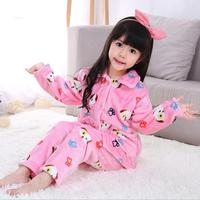 Spring Fall Winter New Children Boys And Girls Cartoon Flannel Pajamas Home Clothes Thermal Pajamas Set