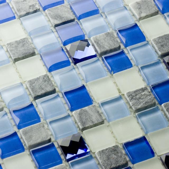 azul piedra de cristal mixto y diamante mosaico de azulejos para bao ducha backsplash de la