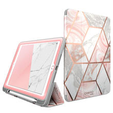 For iPad 9.7 Case (2018/2017) i-Blason Cosmo Trifold Stand Case with Auto Sleep/Wake & Pencil Holder, Built-in Screen Protector(China)