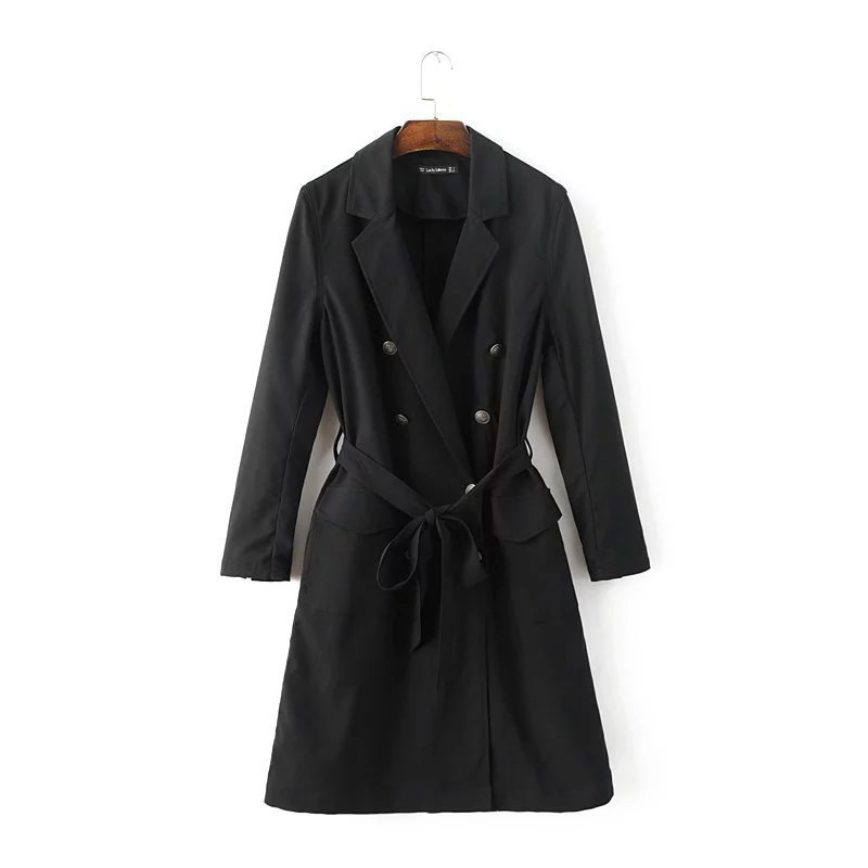2017 Spring Autumn Ladies Double Breasted Long   Trench   Slim Black Long Sleeve Pockets Women's Outwear Belt Cardigan   Trench   Coat