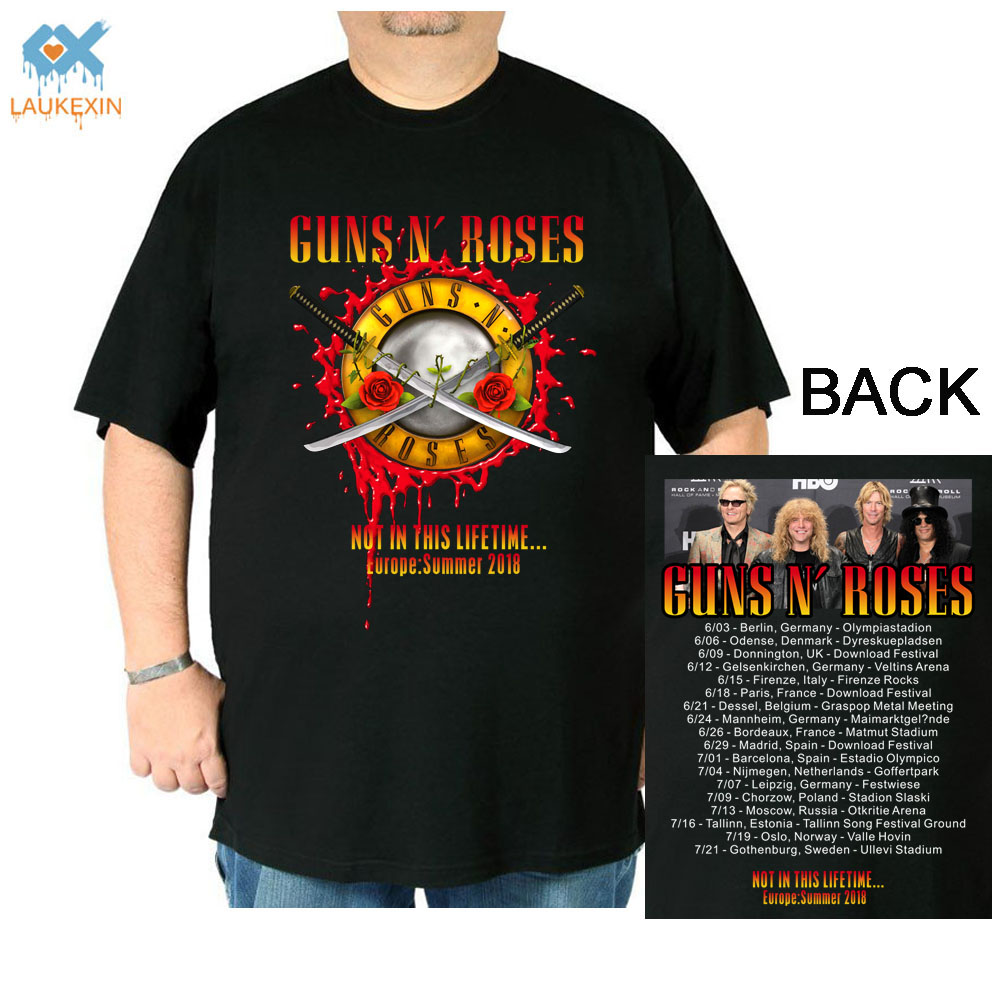 LAUKEXIN Guns N Rose Not This LifeTime Europe Summer 2018 World Tour Concert T Shirt Big and Tall Ture USA Size Rock band shirt