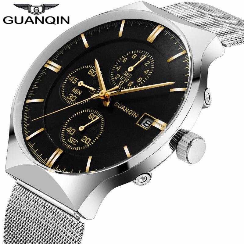 GUANQIN Men Watches 2018 Luxury Brand Quartz Wristwatch Male Waterproof Luminous Clock With Full Steel Strap relogio masculino недорго, оригинальная цена