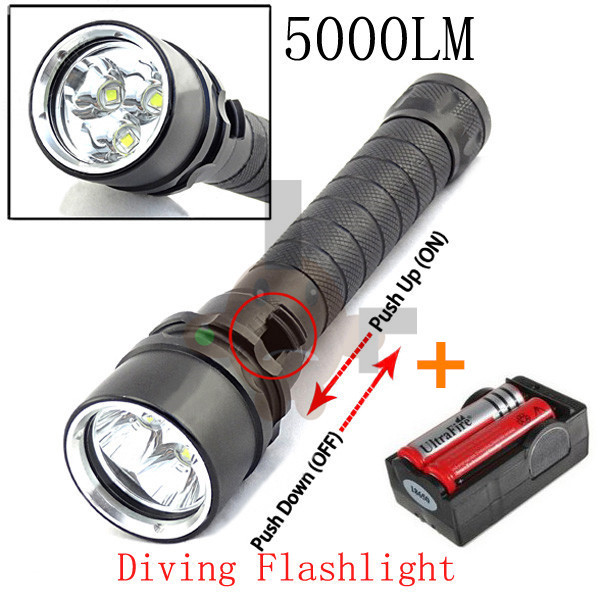 new underwater diving flashlight torch 3 x cree xm l2 led light lamp waterproof 5000 lumens. Black Bedroom Furniture Sets. Home Design Ideas