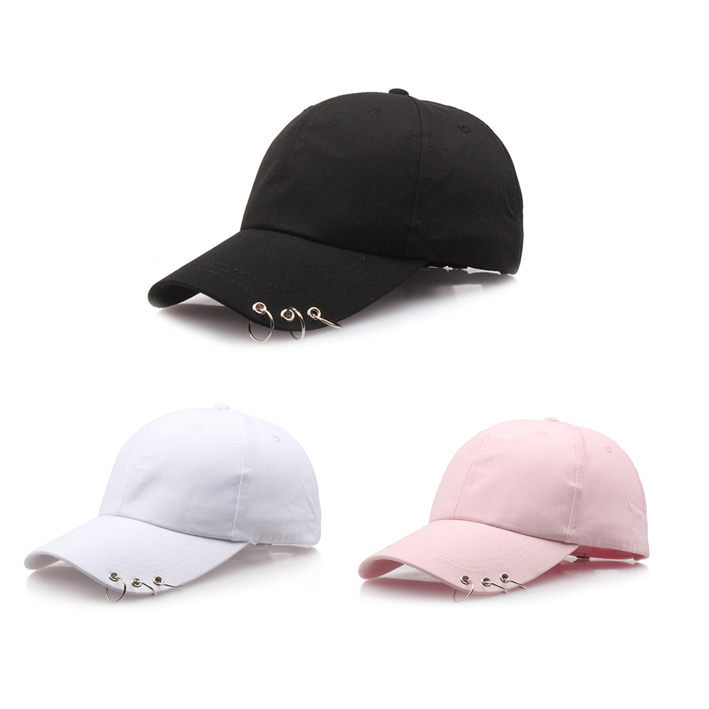 2018 New Arrival Solid   Baseball     Cap   with Rings Hip Hop Women Casual Black White   Cap   Men Cotton Version Sun Hat Bone Pink Hat