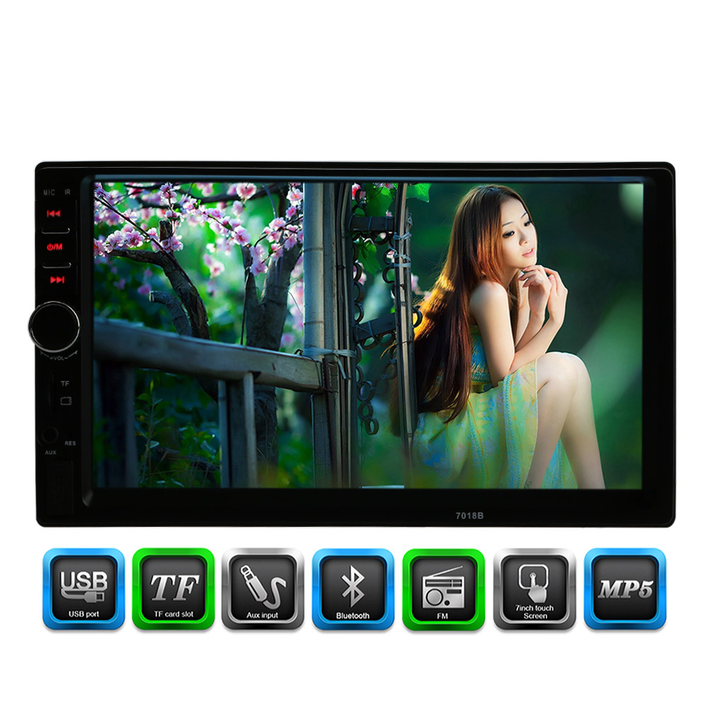 7 HD Touch Screen Car Stereo MP4 MP5 Player 2 Din Bluetooth 3.0 In Dash Aux FM Radio USB SD Audio Video Player FM Radio 4inch hd digital screen car stereo radio mp5 player fm am aux usb sd steering wheel control remote controller support