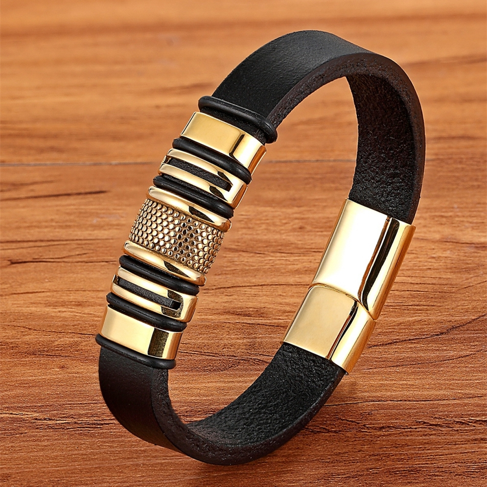 XQNI Gold Luxury Accessories Leather Stainless Steel Men's Bracelet Simple Button Symbolizing Men's Representative Gift