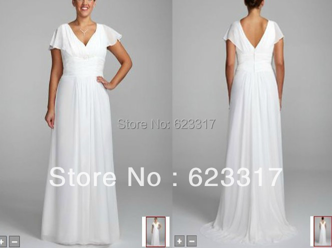 Plus Size Wedding Gowns With Sleeves: Custom Made 2014 Long Chiffon A Line Gown With Flutter