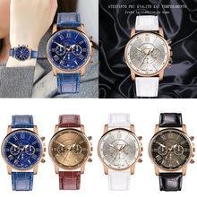 39f768122 جديد أزياء النساء الرجال حلقة من جلد الكوارتز التناظرية ساعة معصم الأزياء  الفاخرة أسود أبيض الذهب. 4 اللون