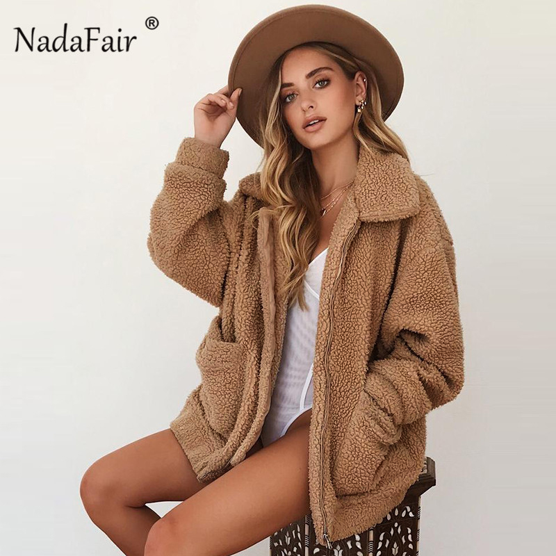 Nadafair plus größe fleece faux lammfell pelz jacke mantel frauen herbst winter plüsch warme dicken teddy mantel weibliche casual mantel