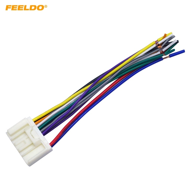 feeldo car radio audio cd power wire harness adapter for mitsubishi lancer outlander mirage toyota crown land cruiser prado 1997 crown victoria wire harness crown wire harness #2