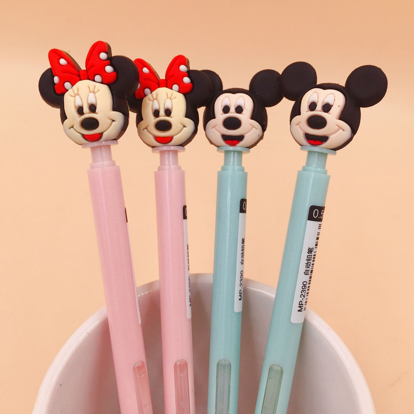 2pcs/1 Lot Cartoon Mickey Mouse Press Mechanical Pencils School Office Supply Student Stationery Kids Gift Automatic Pencil