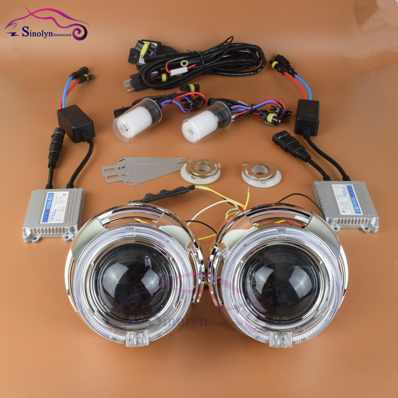 3.0 inch Pro Fiber Optics LED Angel Eyes Halo Devil Eyes HID Bi xenon Lens Headlight Projector Complete Kit 4300K 5000K 6000K long yi painted red lacquer carving pendant with rich fish car hongfu snake zodiac mascot 2000599 years